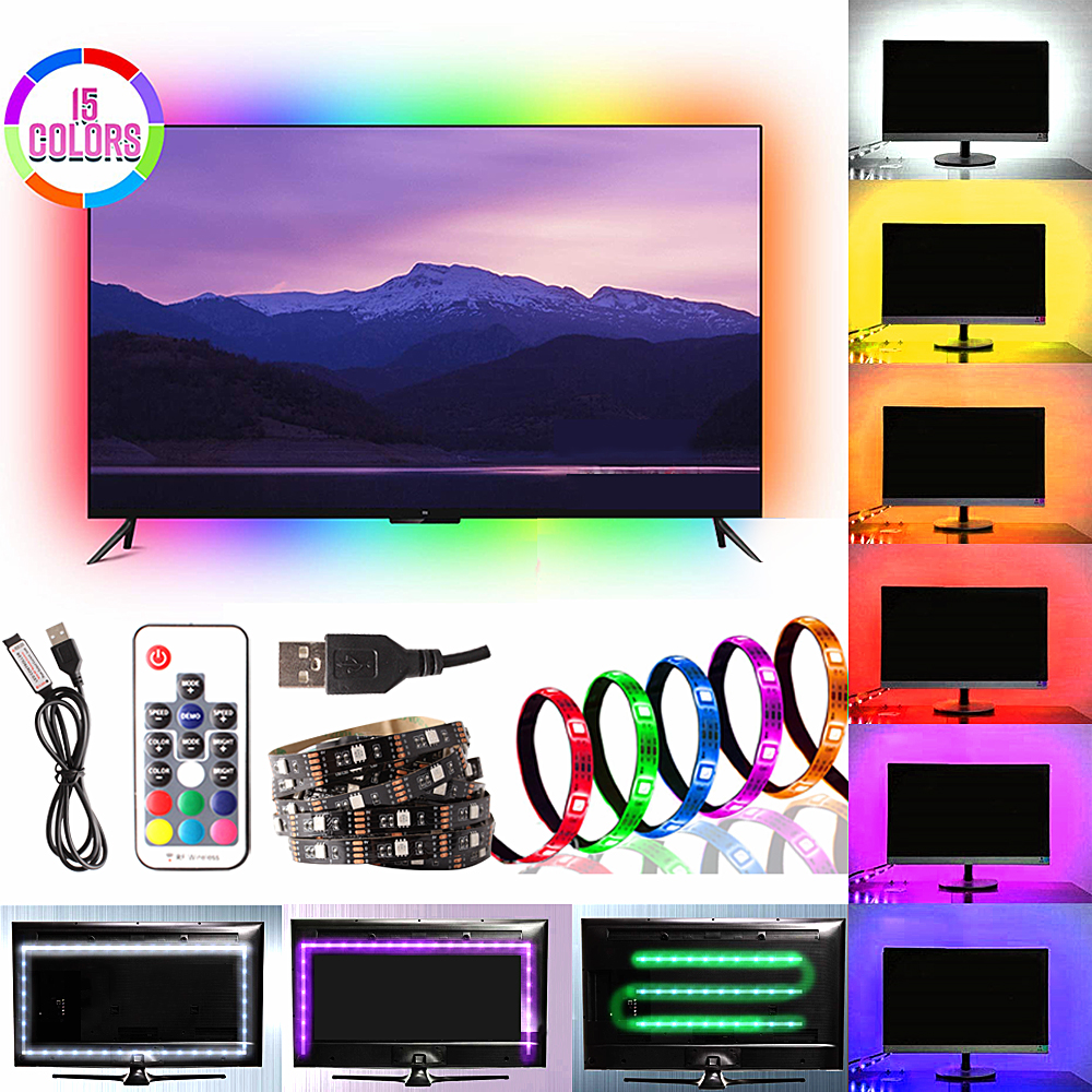 LED Under Cabinet Light RGB USB LED Strip Kitchen Closets Night Lights RF Remote For Home Wardrobe Cupboard LED Diode Tape DC 5V