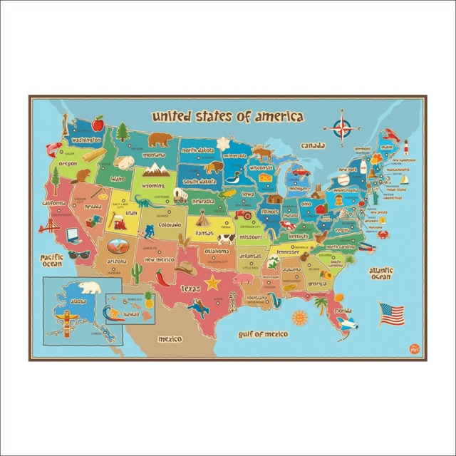 Wall Pops Kids USA Dry Erase Map Decal Wall Decals-in Wall Stickers ...