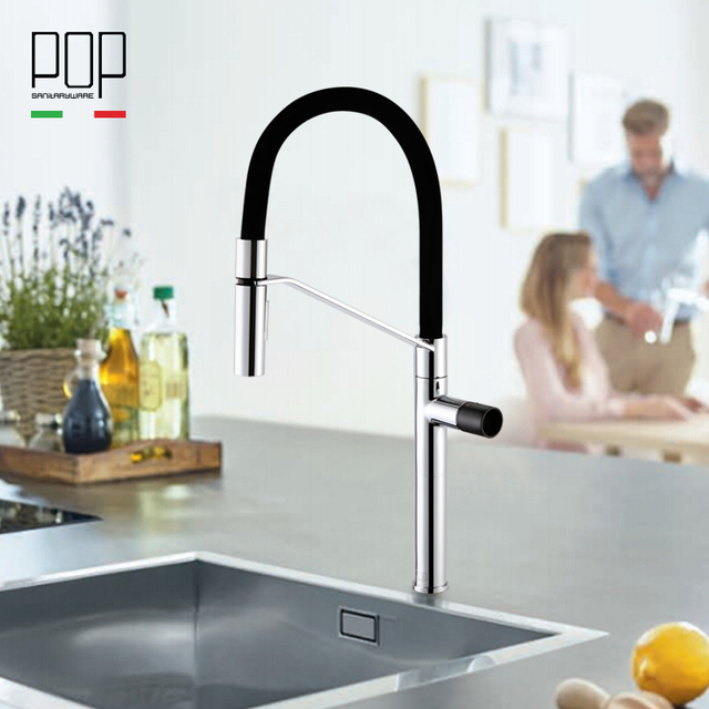 Pop Modern Pull Down Kitchen Sink Faucet Commercial High Arch
