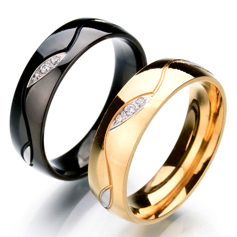 new arrival luxury fashion stainless steel ring full size gold color cz stone wedding ring for