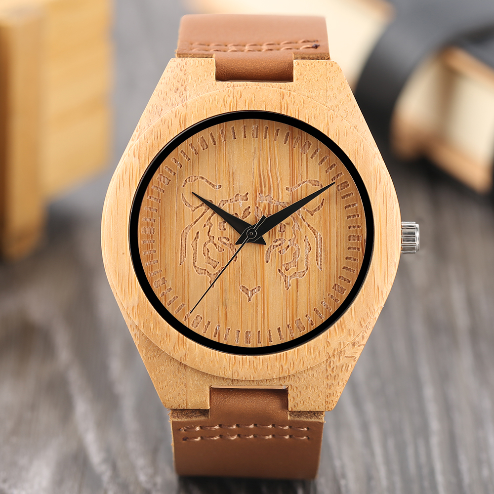 Retro Wood Watch Cool Awesome Tiger Carving Dial Analoge Fashion Men Women Bamboo Wristwatch Creative Students Wood Clock Gifts
