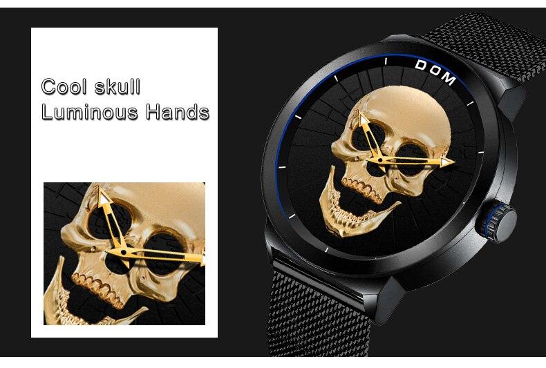 f1a72e918e8 Relógio dos homens DOM Osso Fresco Relógio Criativo Relógio Masculino Preto  Do Crânio Do Estilo de Luxo Da Marca Homens Relógios de Quartzo Relógio M- 1231