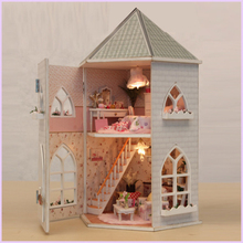 Wooden DIY DollHouse Miniature With Furnitures Creative Doll House Building Model Toys Gift Love Fort 13816 #E
