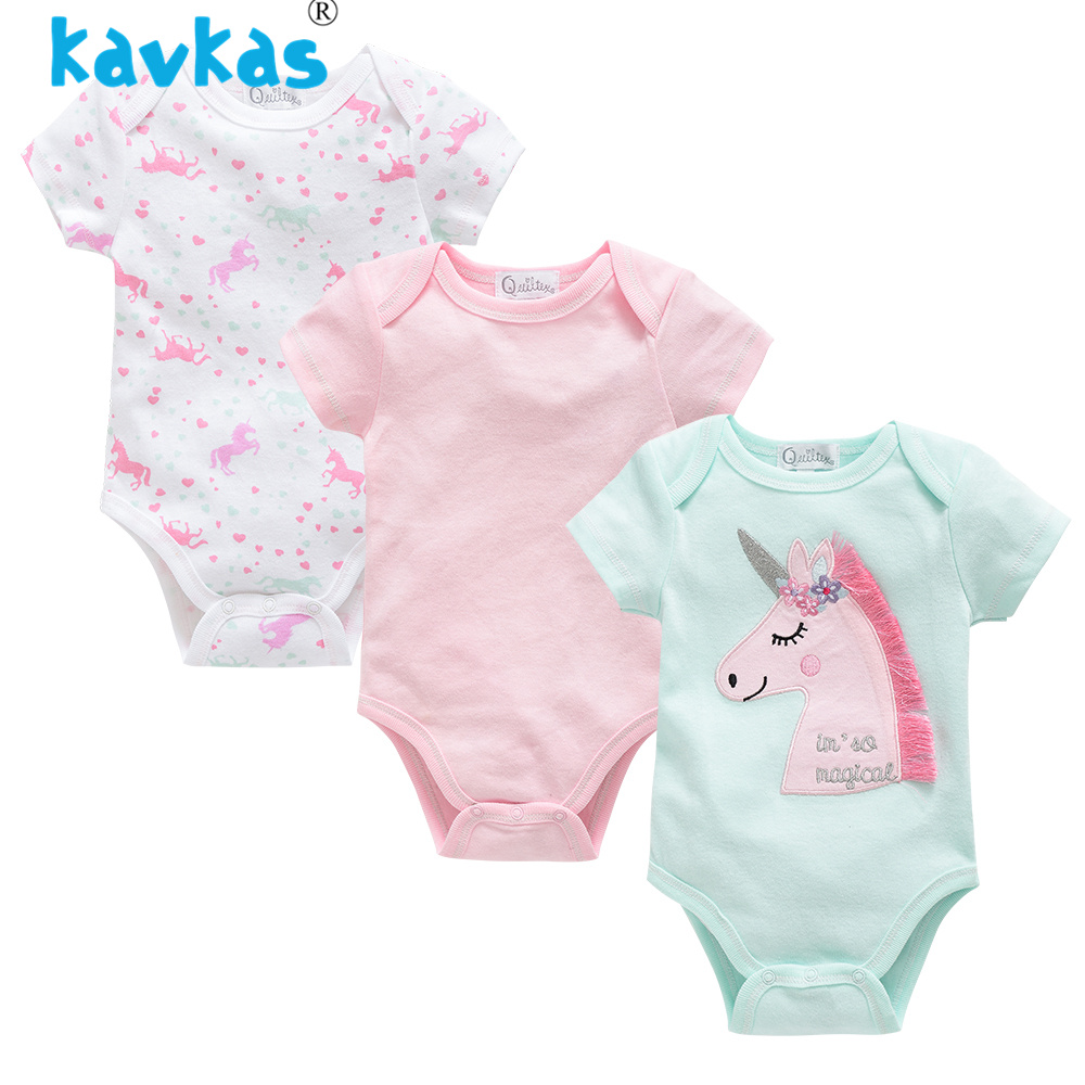 9b304fdc64e42 Kavkas Summer Baby Girl Clothing 3pcs Set Unicorn Design Short Sleeve  Newborn Baby Girl Bodysuits
