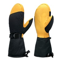 Szlaze Waterproof Thinsulate Thermal Sport Gloves Mitten With Cowhide Leather plam For Ski Snowboardin Winter Motorcycle cycling