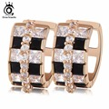 ORSA JEWELS Gold Plated Small Circle Zircon Hoop Earring Paved 0.1ct Austrian Black&Clear Crystal Fashion Jewelry Gift WHME20