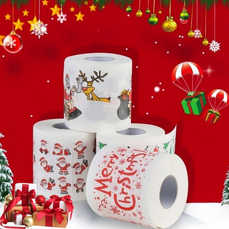 Christmas Colors.Us 2 82 9 Off 4 Colors Christmas Printing Paper Toilet Tissues Novelty Roll Toilet Paper For Christmas Decoration Wholesale In Disposable Party