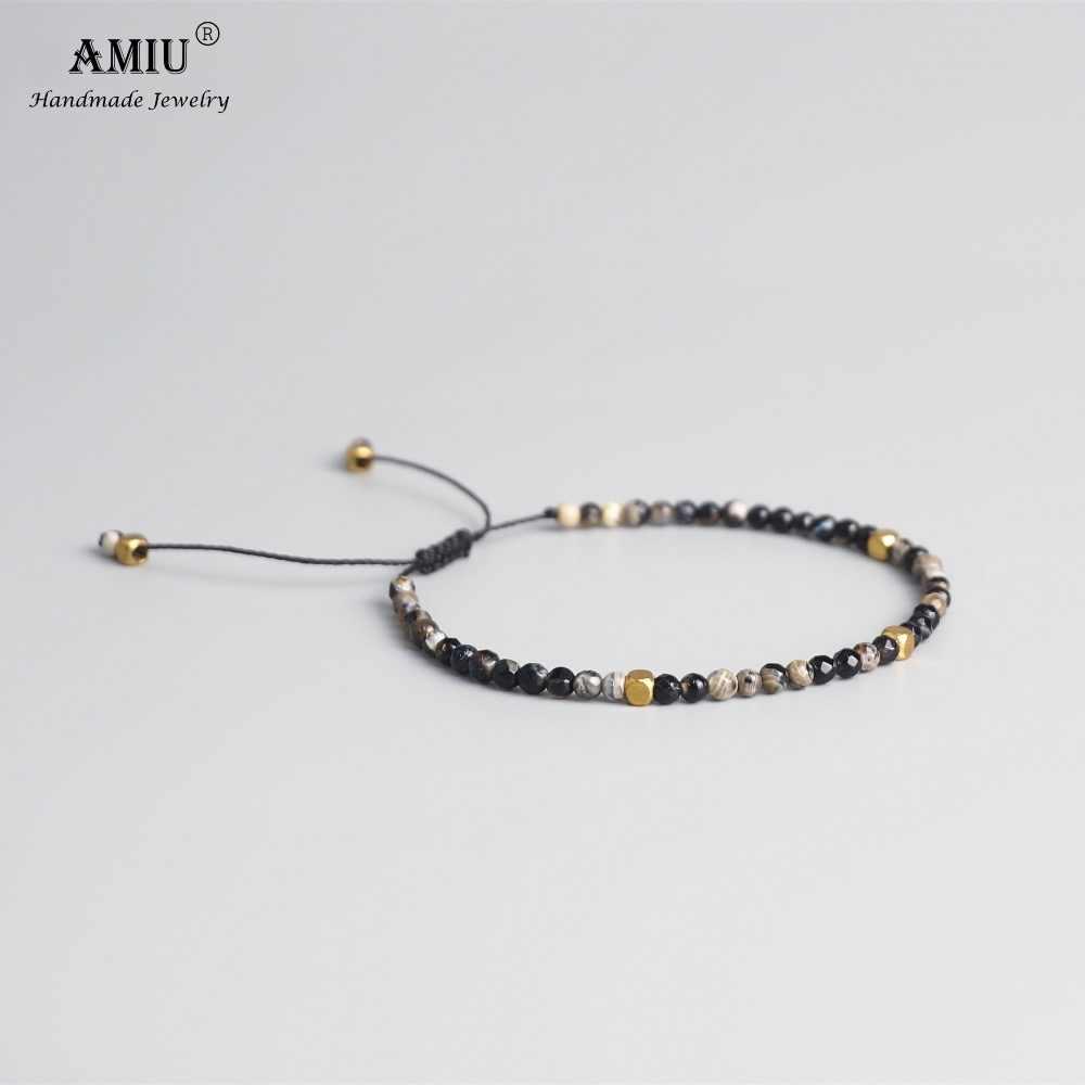 AMIU 3 มม.หินธรรมชาติลูกปัดทิเบตลูกปัดหินสร้อยข้อมือสำหรับผู้ชายผู้หญิงโยคะ Chakra คริสตัลสร้อยข้อมือลูกปัด