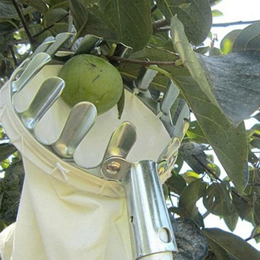 Garden Tool Metal Fruit Picker Convenient Fabric Orchard Gardening For Apple Peach High Tree Picking Tools