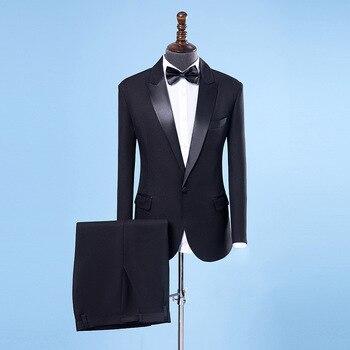 2018 costumes de mariage pour hommes col châle 2 pièces Slim Fit luxe spectacle chanteur costumes hommes noir veste de smoking + pantalon