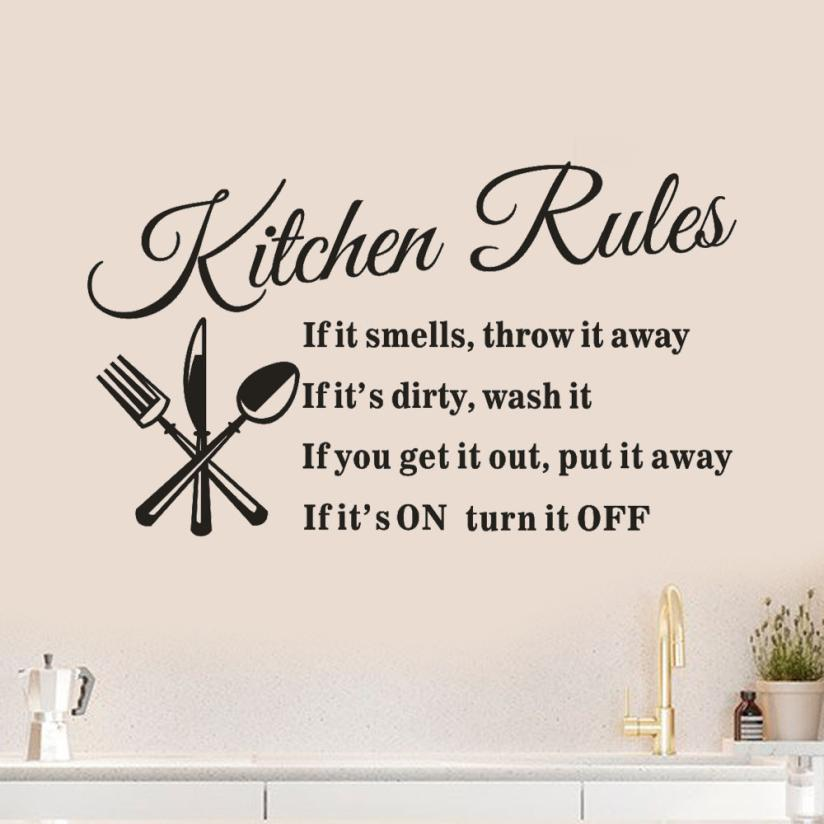 Wall Sticker Adesivo De Parede Rules Restaurant 57 x 33cm Stickers Kitchen Decal Mural DIY Wallstickers 18JAN11