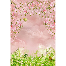 Laeacco Spring Flowers Birds Grassland Baby Newborn Portrait Photo Backgrounds Customized Photography Backdrops For Studio