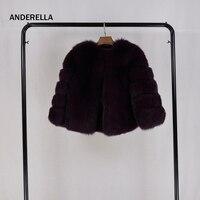 Anderella deep purple из натурального меха енота пальто зимние теплые женские круглый вырез горловины Дамы горячая Распродажа Натуральная мех енота