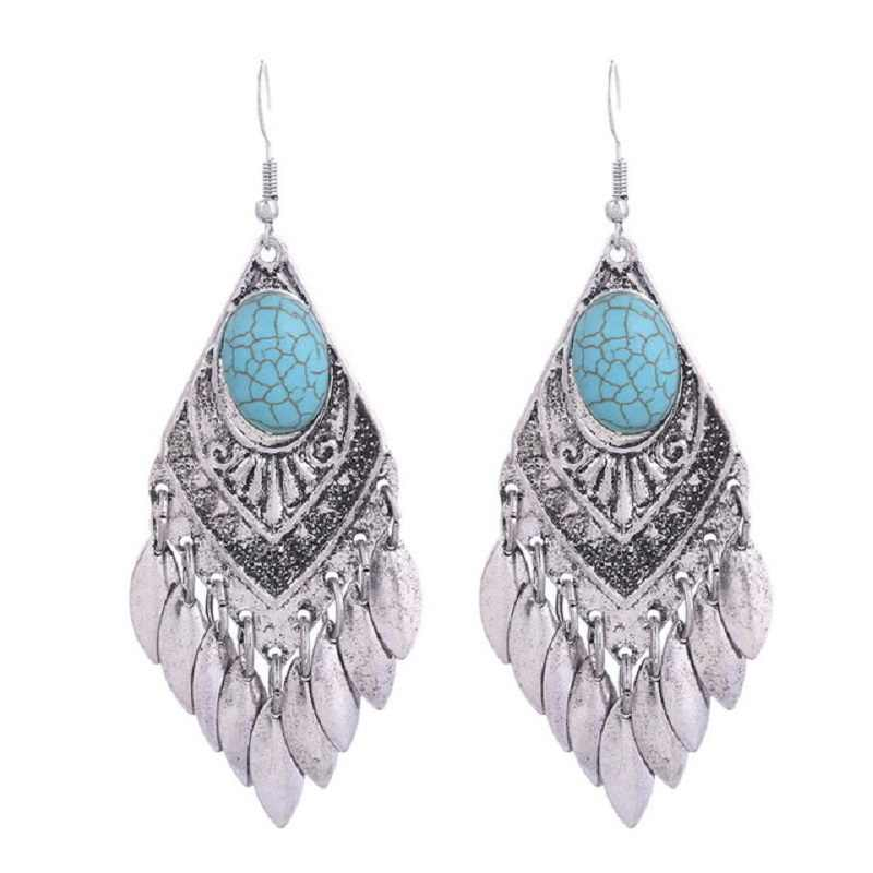 2018 Retro New Bohemian Earrings Ethnic Big Tassel Enamel Vintage Earrings for Women Pendientes Mujer Moda Oorbellen Boucle
