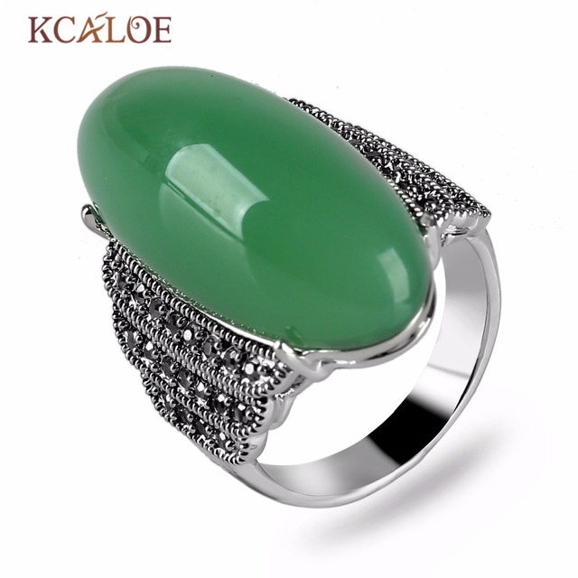 9c774115f08e4 US $5.82 20% OFF|KCALOE Oval Big Green Rings Vintage Retro Natural Stone  Charm Wedding Ring For Women Anillos Mujer Silver Color Accessories-in ...