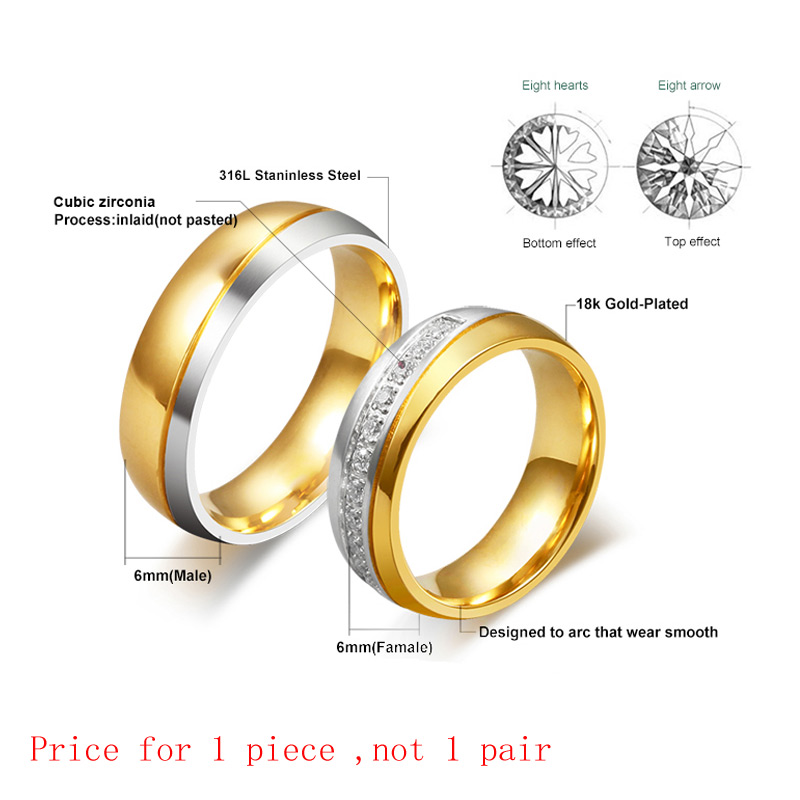 vnox wedding ring for women men gold color love engagement couple stainless steel us size in rings from jewelry accessories on aliexpresscom alibaba - Classic Wedding Rings