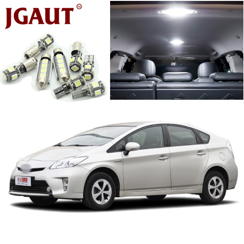 JGAUT 7Pcs White LED Lights Interior Package Kit For 2004-2015 Toyota Prius Map Dome Licens Trunk/Cargo area Step/Courtesy Light car 5630 smd interior map dome trunk light led bulb white led kit package for volvo 850 1991 1995 with install tools