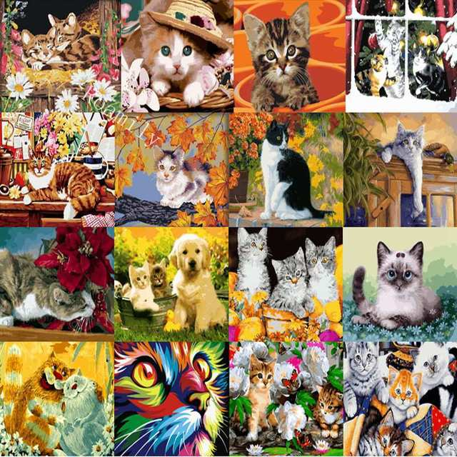 Roamily 39 Pictures Lovely Cats Series Oil Painting By Numbers Kitten Digital Calligraphy Color Acrylic