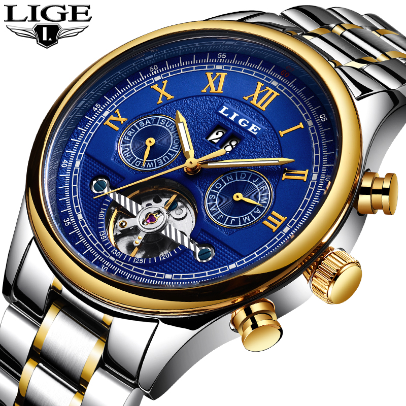LIGE Watch Men Military Sports Top Brand Luxury Fashion Mechanical Watches Casual Waterproof Full Steel Clock Relogio Masculino relogios masculino sollen calendar mechanical watch luxury men black waterproof fashion casual military brand sports watches