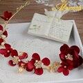 Nuevo diseño 4 colores hecho a mano hairband tela guirnalda de flores princesa tiara foux perla joyería del pelo pelo de la manera chaplet sg242