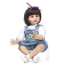24 inch Reborn Toddler Fridolin Girl Dolls with Black Bob Hair High Grade Baby Alive Adora
