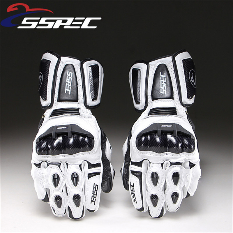 SSPEC Motorcycle Gloves Leather Carbon Fiber Winter Warm Motorcycle Waterproof Racing Gloves Motocross Luvas Moto Guantes gants
