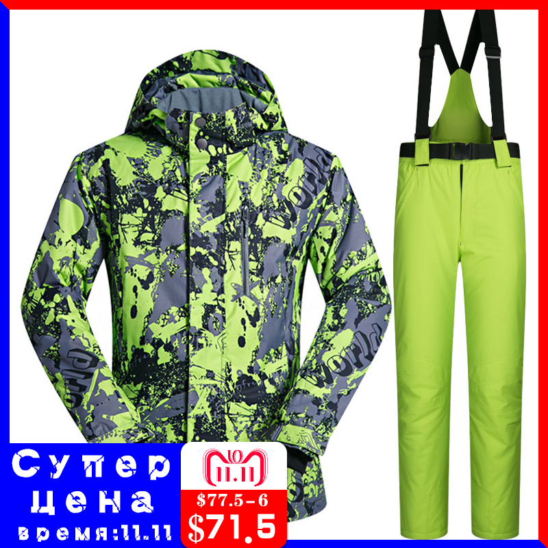 Men Ski Suit Brands 2018 New High Quality Windproof Waterproof Warmth Clothing Ski Jacket Men Snow Set Winter Snowboarding Suits