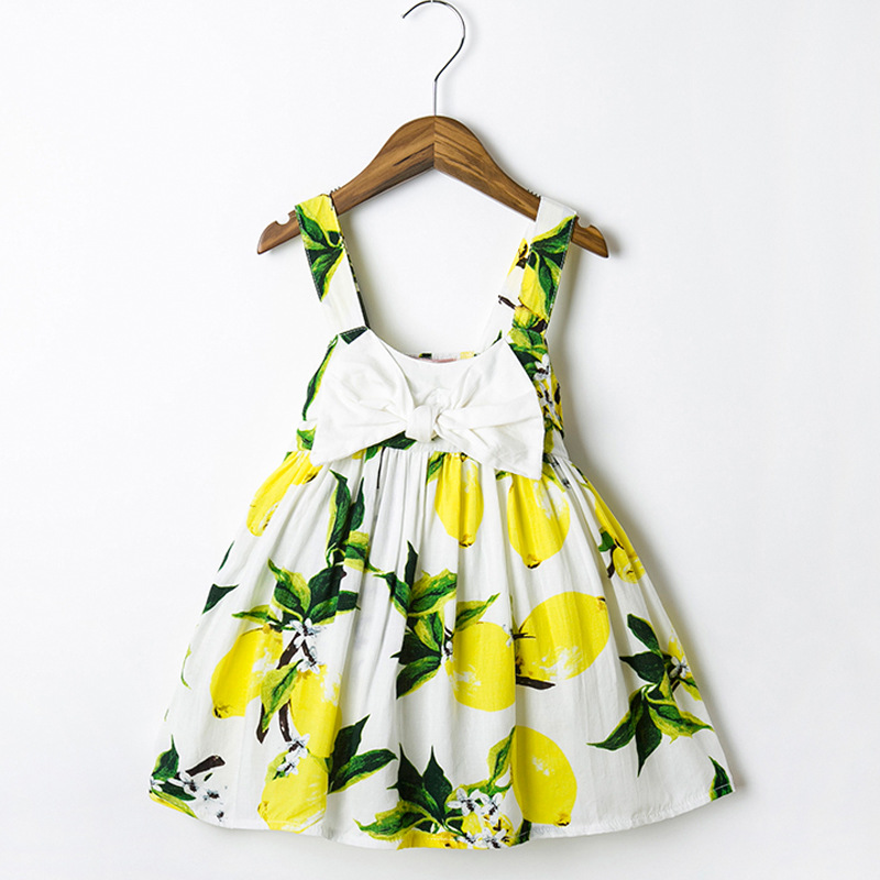 5bc639a7445 Children's Princess Dresses Printing Big Ribbon Bow Dress 1Year Birthday  Dress 0-2 year