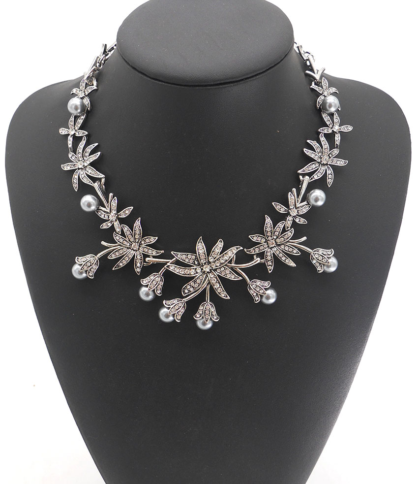 New Women Maxi Colar Vintage Silver Plated Crystal...