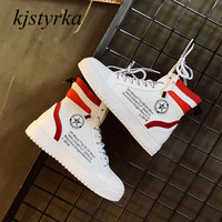 Kjstyrka 2018 Brand design fashion high quality woman High top sneakers lady canvas tenis feminino espadrilles zapatillas mujer