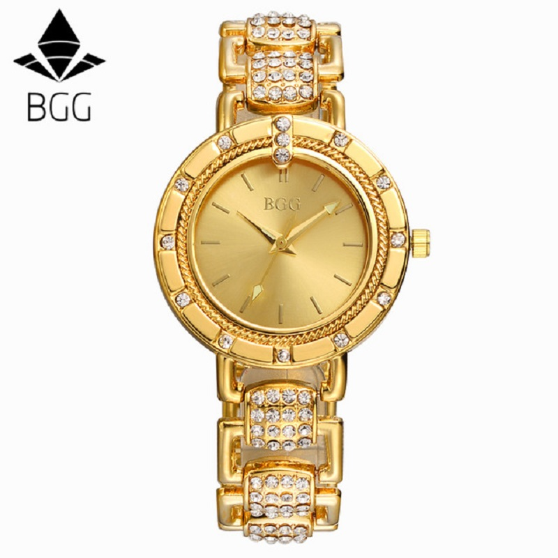 2017 BGG Brand Women steel dress watches Luxury simple Casual quartz watch relogio feminino female rhinestone gold clock hours classic simple star women watch men top famous luxury brand quartz watch leather student watches for loves relogio feminino
