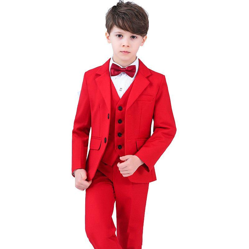 2019 enfants garçon costume pour fête de mariage enfants garçons 4/5 pièces ensembles Blazer + pantalon + chemise + arc + gilet bébé garçon costumes ensemble de vêtements formels Y67