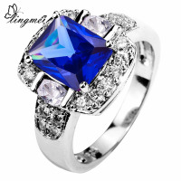 lingmei Wedding Band Fashion Gorgeous Blue & White & Pink & Purple Zircon SterlingSilver 925 Ring Size 5 -13 Valentine Gifts