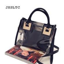 3b149c2cde JXSLTC 2pcs Fashion Women Clear Transparent Shoulder Bag Jelly Candy Summer  Beach Handbag Woman Messenger Bags