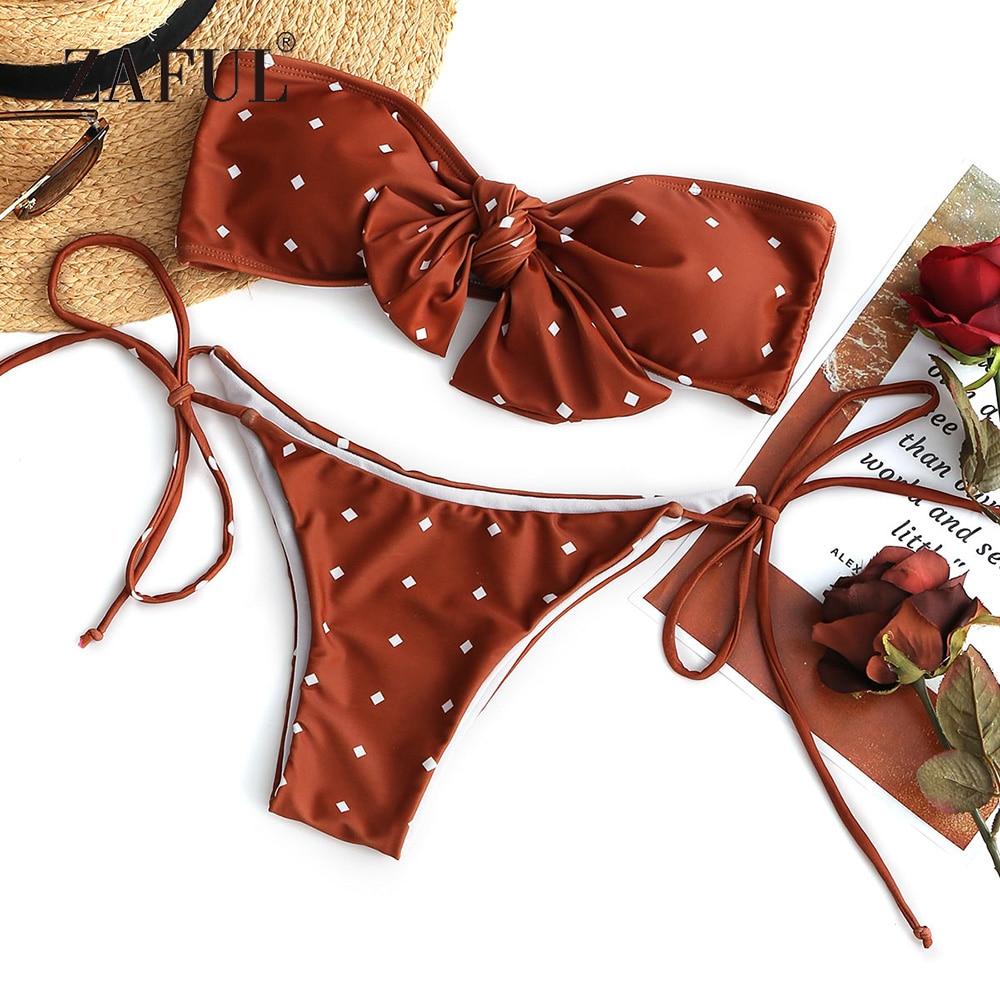 ZAFUL Bikini Self-tie Dotted Bandeau Bikini Set Women Swimsuit Sexy Low Waisted Swimwear Print Strapless Padded Biquni Beachwear stylish strapless fringed beading bikini set for women