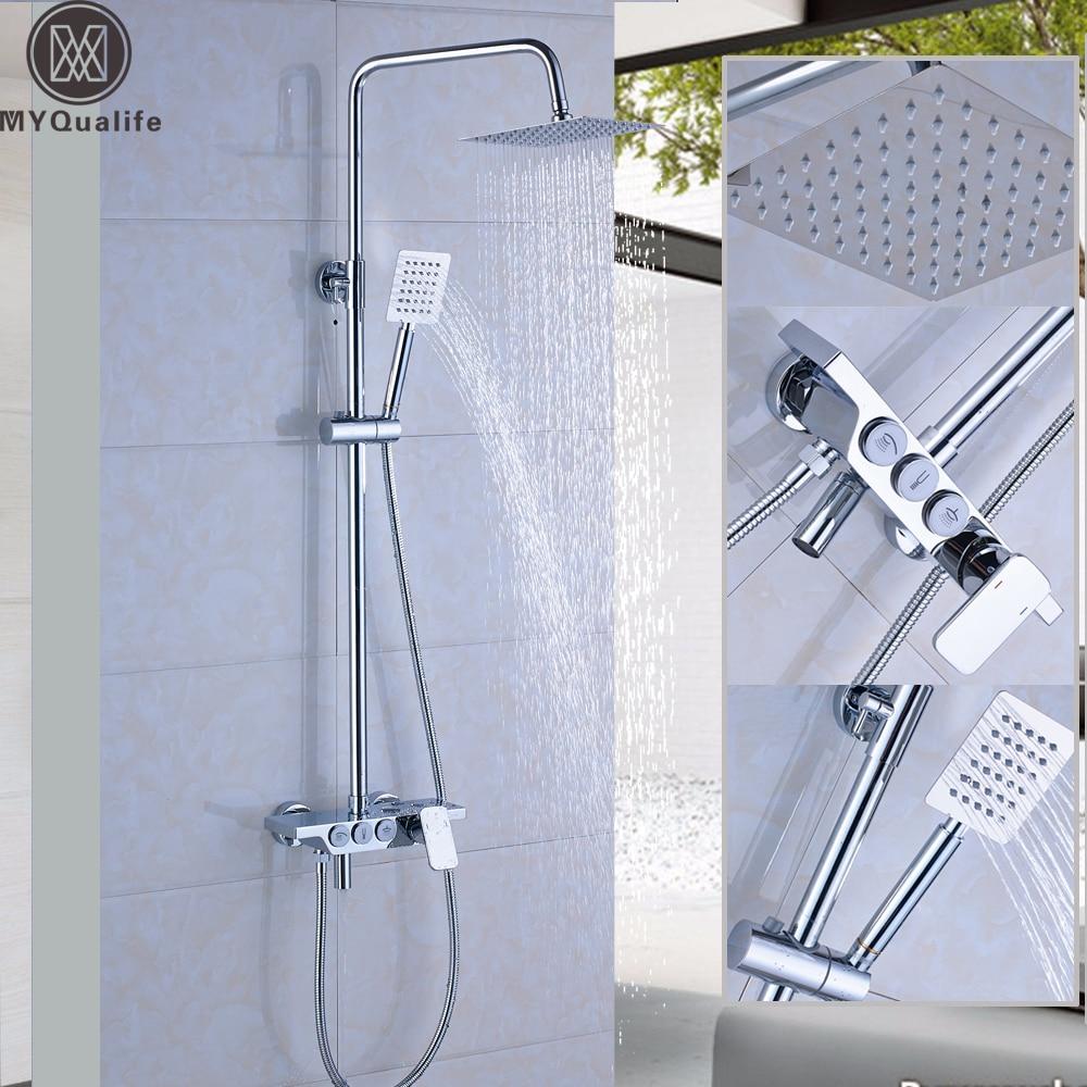 Luxus Wand Regen Dusche Armaturen Kit Quadrat Edelstahl Top Spray ...