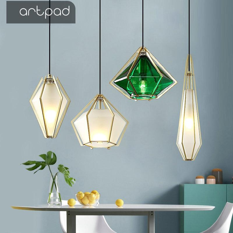 Creative Art Diamond Green Glass Pendant Lamp LED Modern Decoration Light Fixtures for Bar Dining Room Kitchen Living Room