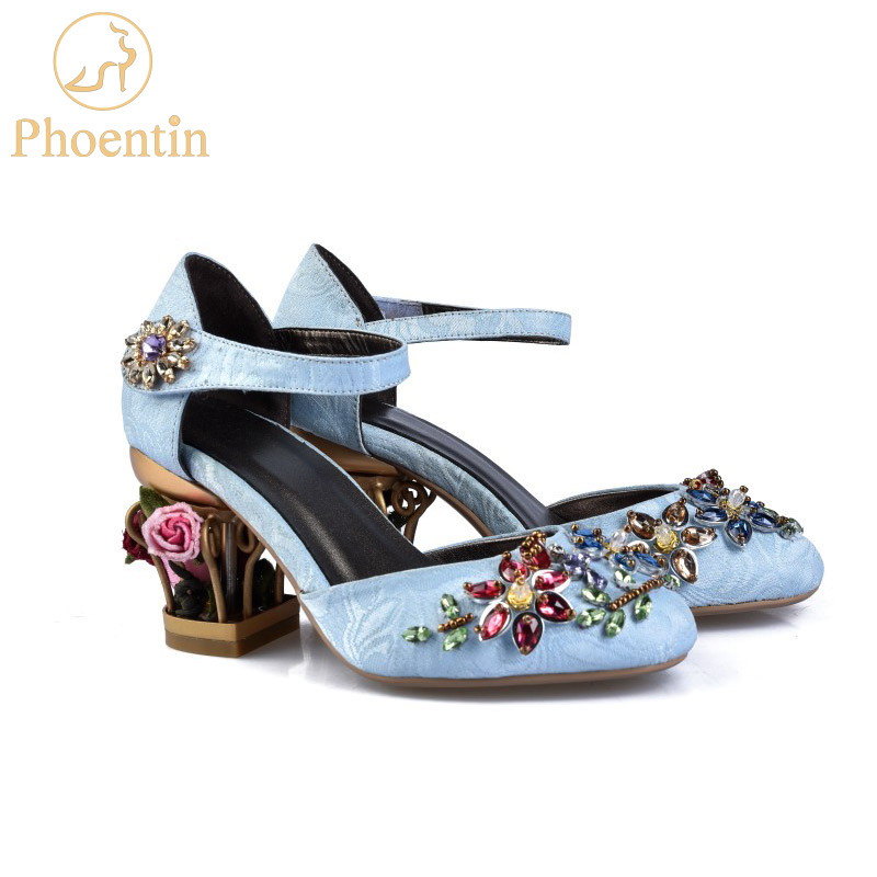 Phoentin crystal mary jane shoes women flower med fretwork heels velvet sheepskin material hook loop Ethnic
