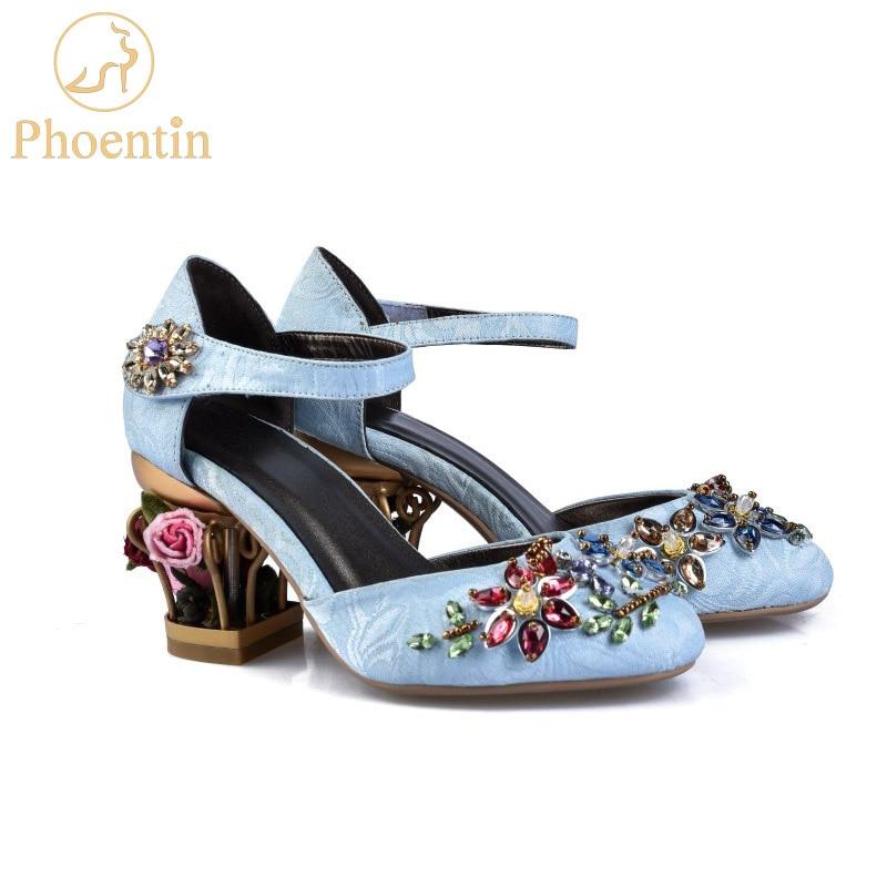 Phoentin cristallo mary jane scarpe delle donne del fiore med fretwork tacchi di velluto pelle di pecora materiale hook & loop Etnico scarpe da sposa FG109-in Pumps da donna da Scarpe su  Gruppo 1