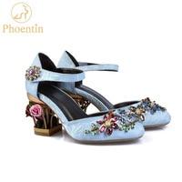 Phoentin crystal mary jane shoes women flower med fretwork heels velvet sheepskin material hook&loop Ethnic wedding shoes FG109