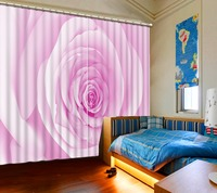 Europea Curtains for windows Printing pink rose Blackout 3d Curtains Decorative Door Curtain