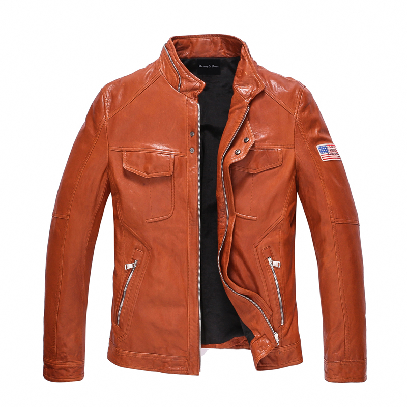 Leather Jacket Men 100% Genuine Leather Outerwear Slim Fit Real Sheepskin Coat Short Motorcycle Jacket Rider Coat TJ35