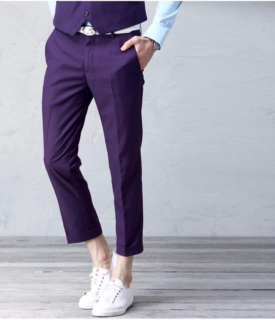 1ff2e94120 Ropa de hombre de vestir pantalones Slim Fit Formal moda pantalón de  negocios rodilla tobillo se