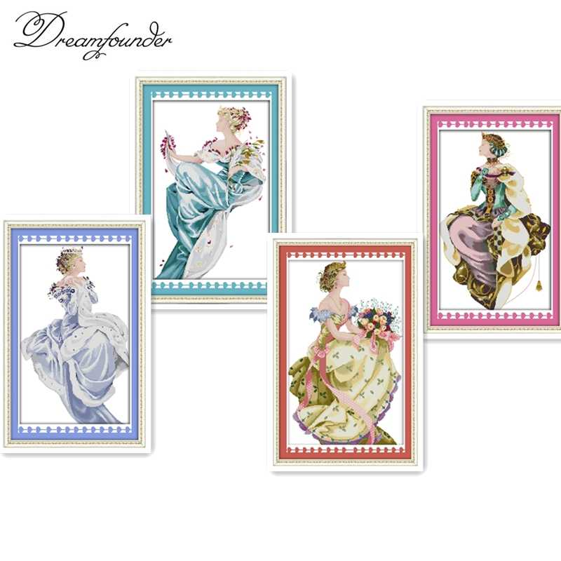 Spring queen cross stitch kit aida 14ct 11ct count printed canvas stitches embroidery DIY handmade needlework