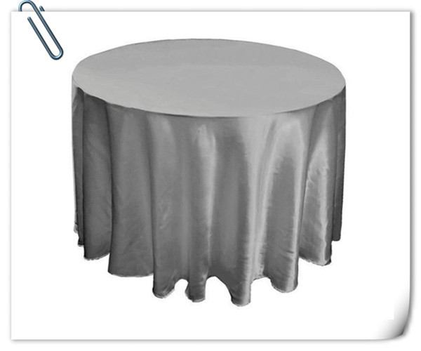 Factory Direct Sale Grey 90inch Round Satin 10pcs Table Cloth ,Satin Table Cloth For Wedding Event Decoration Marious