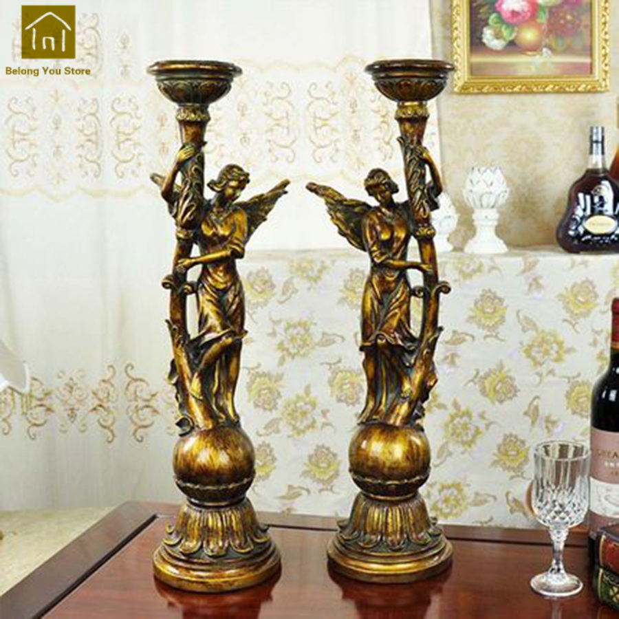 Luxury Retro Candle Holders Wedding Decorations Candleholder Crafts European Portavelas Candlestick Angle Candle Stand JKL093
