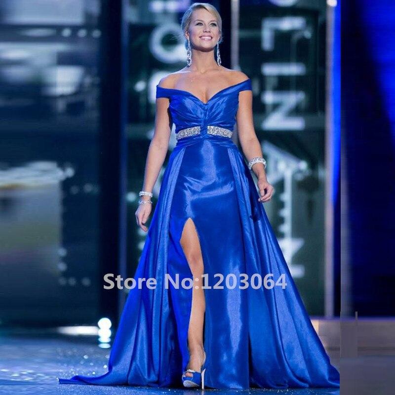Stunning Royal Blue Satin 2016 Pageant Dresses V neck Off the ...