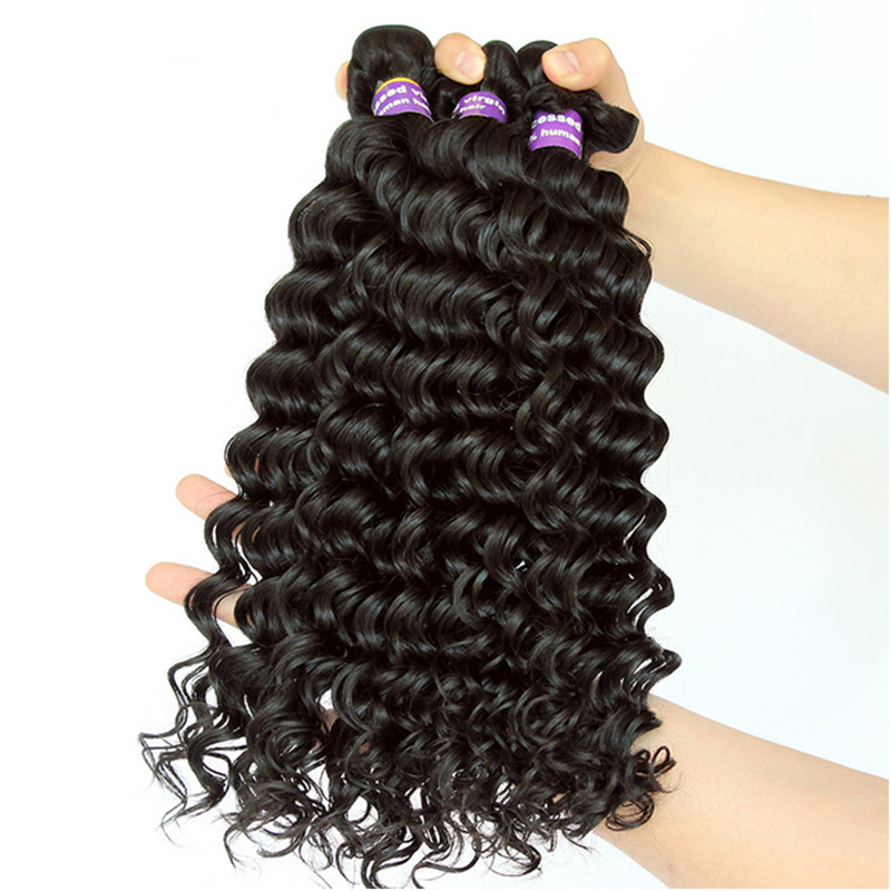 Deep Wave Brazilian Virgin Hair Weave Bundles 100 Human Hair Bundle Extension Loose 3 pcs Raw