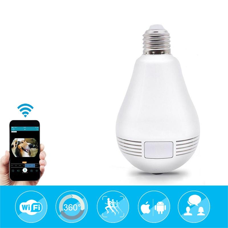 1080P Wireless IP Camera Wifi Fish Eye 360 degree Bulb Mini CCTV Camera Home Security Panoramic Cam Baby Monitor