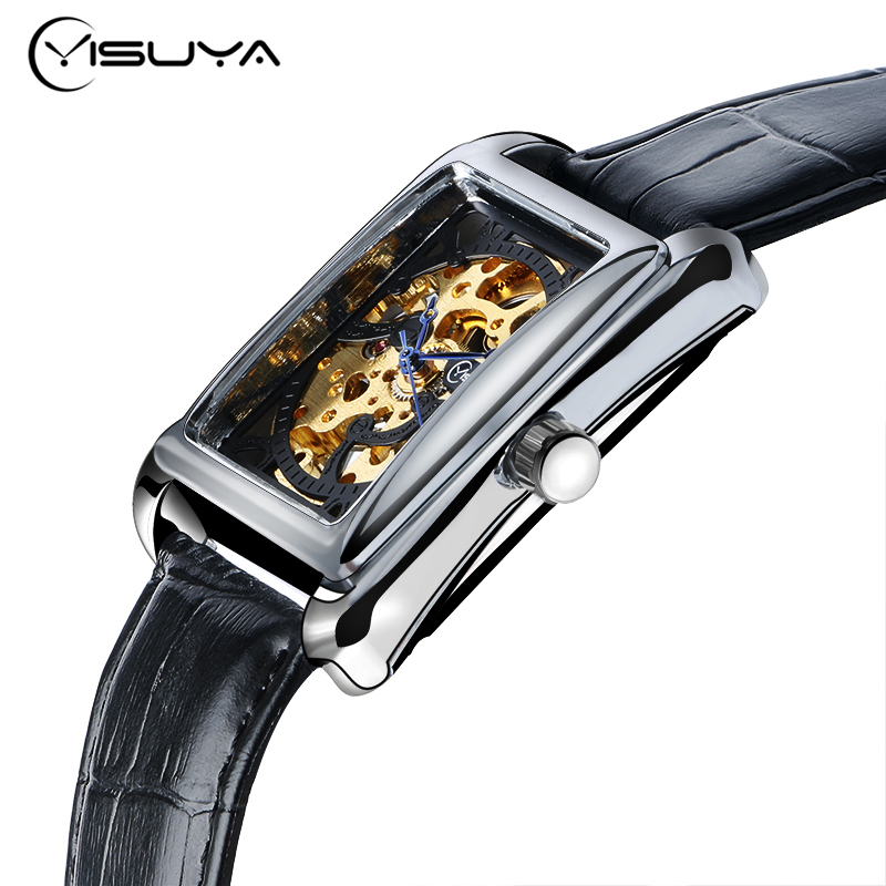 YISUYA Rectangle Watch Men Women Mechanical Hand Wind Wristwatch Skeleton Dial Elegant Bracelet Classic Male Female Clock 2017 ks black skeleton gun tone roman hollow mechanical pocket watch men vintage hand wind clock fobs watches long chain gift ksp069